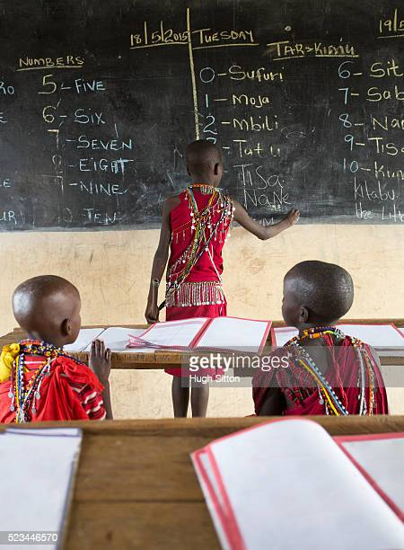 maasai school children in traditional costume. kenya. - hugh sitton stock pictures, royalty-free photos & images