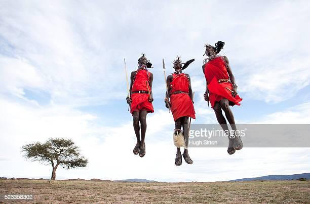 maasai tribesmen jumping - hugh sitton stock-fotos und bilder