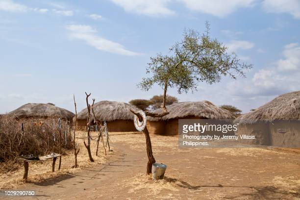 a maasai village in tanzania - village stock pictures, royalty-free photos & images