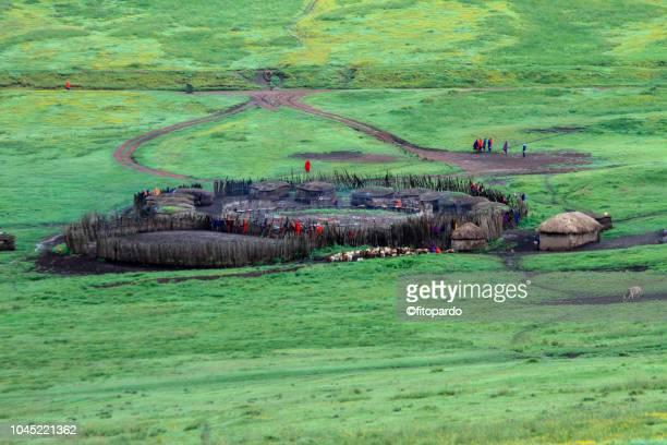 Maasai village in the Ngorongoro Crater