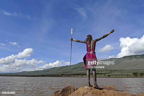 Maasai Warrior Loving Life - Arms up in the Air