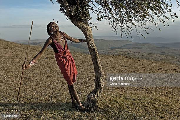 Maasai Warrior smiling with Spear