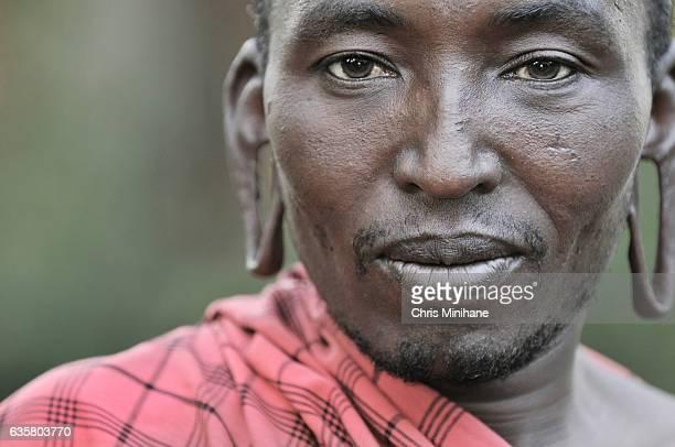 Maasai Warrior Tribesman Closeup Portrait - Kenya - Africa
