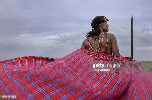 Maasai Warrior Tribesman with Spear and Flowing Cape