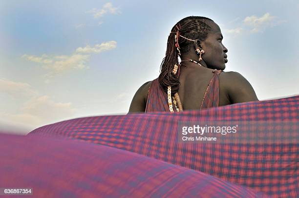 Maasai Warrior with Cloak Flowing in the Wind