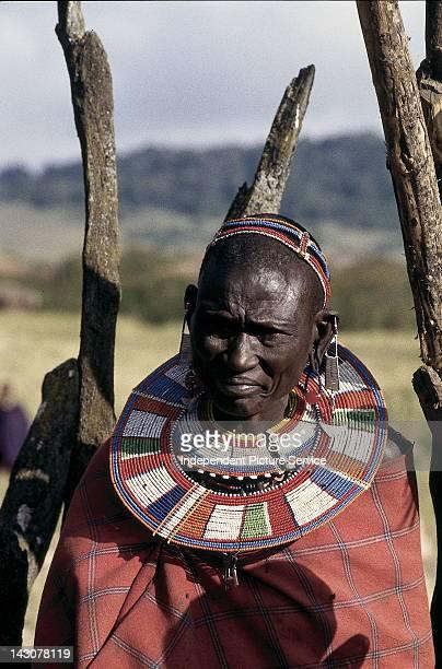 Maasai woman wearing beaded jewelry Tanzania