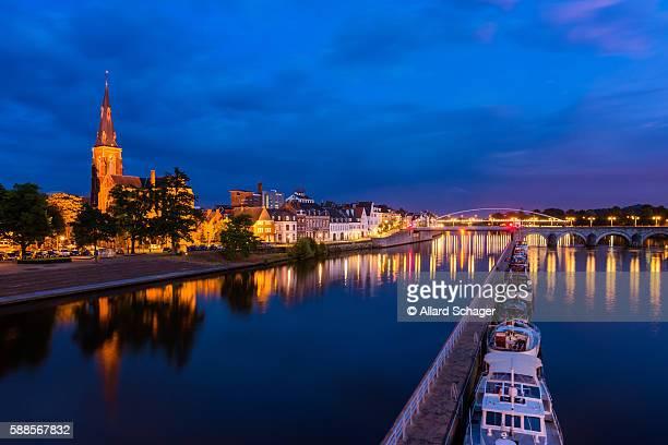 Maastricht Netherlands and Maas River at dusk
