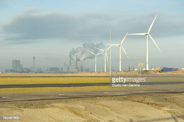 CONTENT] Maasvlakte 2 Rotterdam industrial area the Netherlands This is where Maasvlakte 1 2 meet Before the land reclamation these dunes served as...