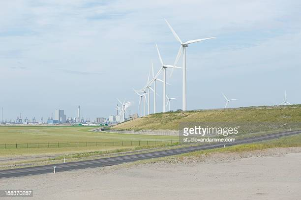 maasvlakte ii - american style windmill stock pictures, royalty-free photos & images
