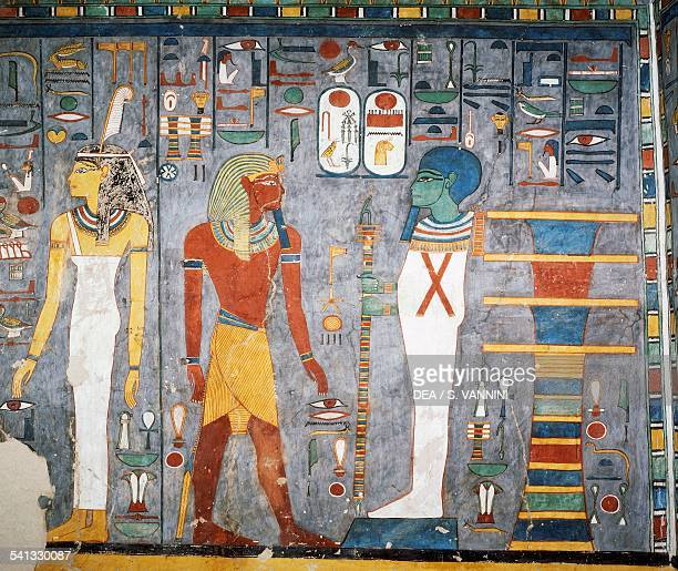 Maat Ramesses I Ptah and pillar of Osiris detail from the frescoes in the burial chamber Tomb of Ramesses I Ancient Thebes Luxor Egypt XIX Dynasty ca...