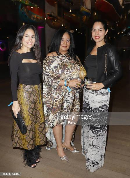 Mabel Alvarez Elda Perez and Belissa Alvarez attend the PAMM Presents Antibalas Kilo Kish And Ray Brady at Perez Art Museum Miami on December 6 2018...