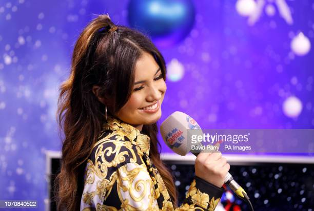 Mabel backstage in the on air studio during day two of Capital's Jingle Bell Ball with CocaCola at London's O2 Arena