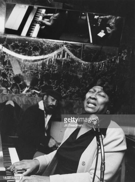 Mabel Godwin at the piano in Arthur's Tavern Greenwich Village New York City 1977