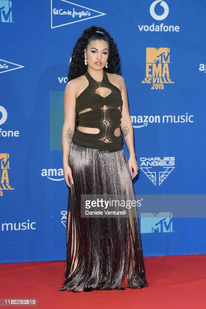 Mabel in the winners room during the MTV EMAs 2019 at FIBES Conference and Exhibition Centre on November 03 2019 in Seville Spain