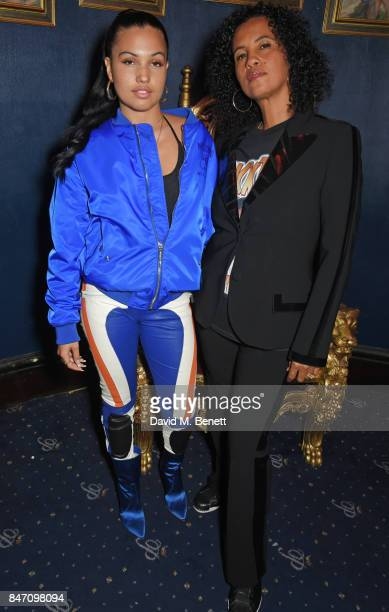 Mabel McVey and Neneh Cherry attend the iD x Jeremy Scott party presented by UGG at Cafe de Paris on September 14 2017 in London England