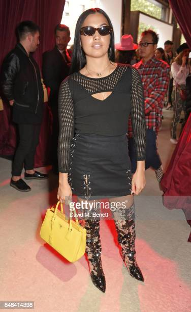 Mabel McVey attends Topshop's London Fashion Week show on September 17 2017 in London England