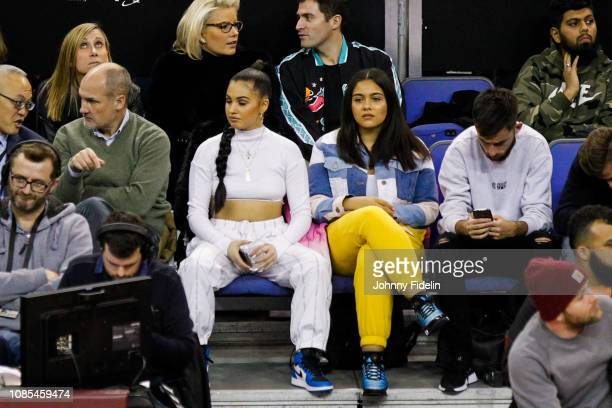Mabel McVey singer during the NBA game against Washington Wizards and New York Knicks at The O2 Arena on January 17 2019 in London England England as...