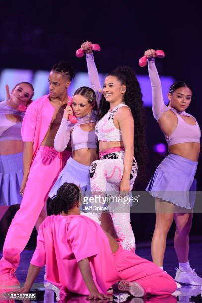 Mabel performs on stage during the MTV EMAs 2019 at FIBES Conference and Exhibition Centre on November 03 2019 in Seville Spain