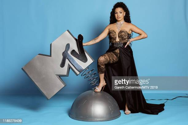 Mabel poses at the MTV EMAs 2019 studio at FIBES Conference and Exhibition Centre on November 03 2019 in Seville Spain