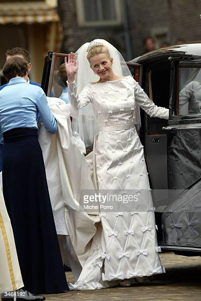 Mabel Wisse Smit waves after the civil ceremony of her wedding with Dutch Prince Johan Friso on April 24, 2004 in Delft, The Netherlands. Mabel's...