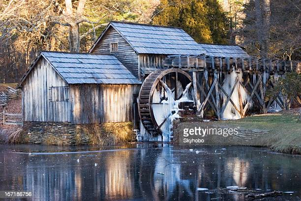 mabry mill winter morning - blue ridge parkway stock pictures, royalty-free photos & images