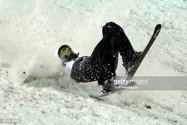 Mac Bohonnon of the United States crashes during the Men's Aerials Finals during the 2018 FIS Freestyle Ski World Cup at Deer Valley Resort on...