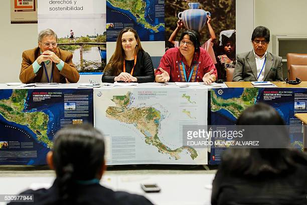 LR Mac Chapin anthropologist Gretel Aguilar Amadeo Martinez President of the Indigenous Council of Central America and Ramiro Batzin member of the...