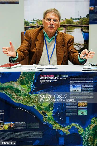Mac Chapin anthropologist speaks to guests during a press conference about the new high Indigenous tech map on May 12 at the United Nations...