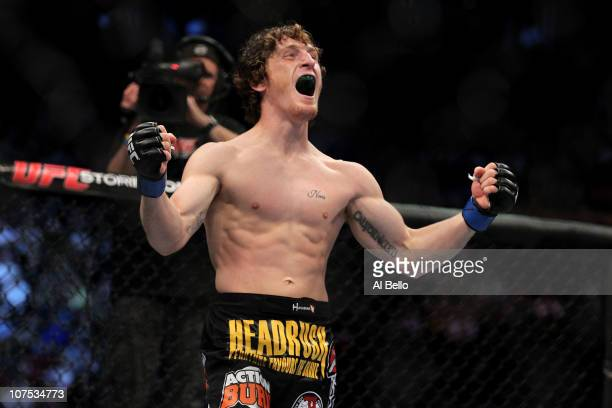 Mac Danzig reacts after he knocked out Joe Stevenson during their Lightweight bout during UFC 124 at the Centre Bell on December 11, 2010 in...