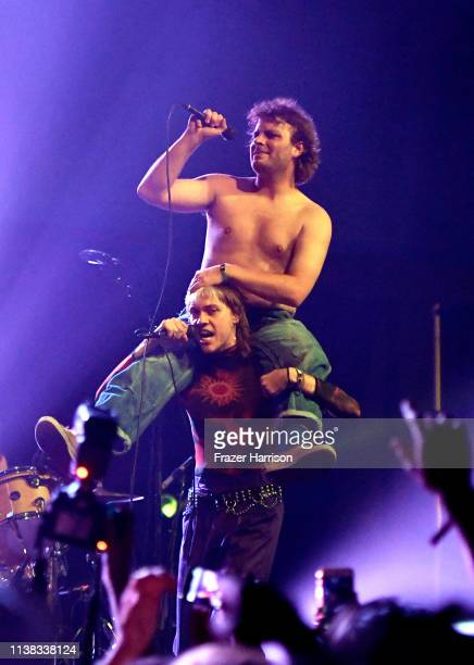Mac DeMarco and Wyatt Shears of The Garden perform at Sonora Stage during the 2019 Coachella Valley Music And Arts Festival on April 20 2019 in Indio...