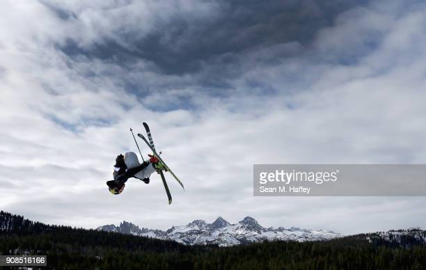 Mac Forehand competes in the qualifying round of the Men's Freeski Slopestyle during the Toyota US Grand Prix on January 21 2018 in Mammoth California
