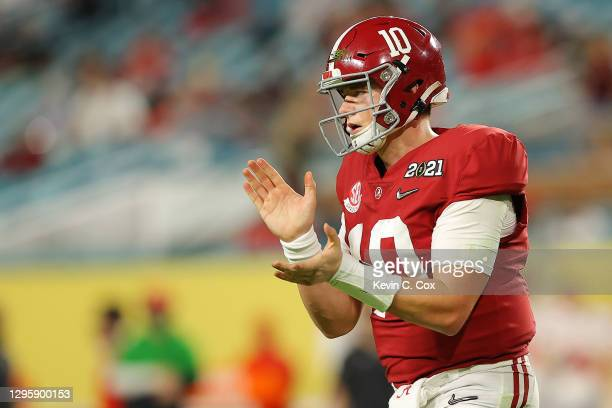 Mac Jones of the Alabama Crimson Tide in action during the third quarter of the College Football Playoff National Championship game against the Ohio...
