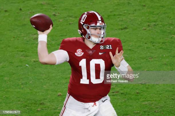 Mac Jones of the Alabama Crimson Tide looks to pass during the fourth quarter of the College Football Playoff National Championship game against the...