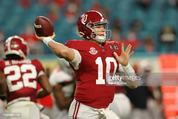 Mac Jones of the Alabama Crimson Tide looks to pass during the second quarter of the College Football Playoff National Championship game against the...