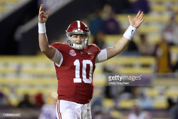 Mac Jones of the Alabama Crimson Tide reacts after a touchdown against the LSU Tigers at Tiger Stadium on December 05, 2020 in Baton Rouge, Louisiana.