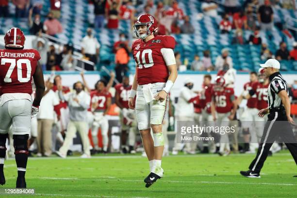 Mac Jones of the Alabama Crimson Tide reacts to a touchdown during the second quarter of the College Football Playoff National Championship game...