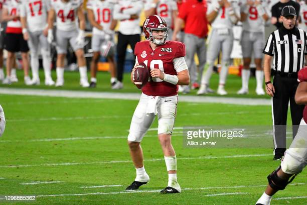 Mac Jones of the Alabama Crimson Tide stands in the pocket during the College Football Playoff National Championship football game against the Ohio...