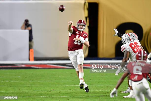 Mac Jones of the Alabama Crimson Tide throws the ball during the College Football Playoff National Championship football game against the Ohio State...