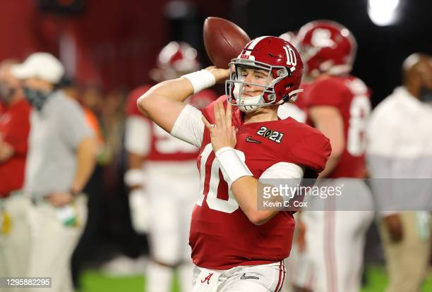 Mac Jones of the Alabama Crimson Tide warms up prior the College Football Playoff National Championship game against the Ohio State Buckeyes at Hard...