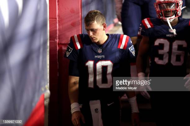 Mac Jones of the New England Patriots reacts after losing to the Miami Dolphins 17-16 at Gillette Stadium on September 12, 2021 in Foxborough,...