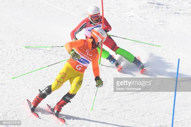 Mac Marcoux of Canada competes in the Alpine Skiing Men's Slalom Visually Impaired on day eight of the PyeongChang 2018 Paralympic Games on March 17...