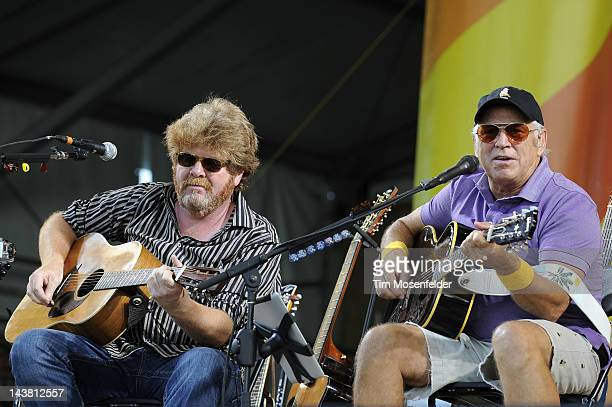 Mac McAnally and Jimmy Buffett performs an Acoustic set with Mac McAnally as part of the 2012 New Orleans Jazz Heritage Festival at Fair Grounds Race...