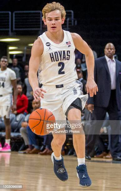 Mac McClung of Georgetown moves up court during a game between Butler and Georgetown at Capital One Arena on January 28 2020 in Washington DC