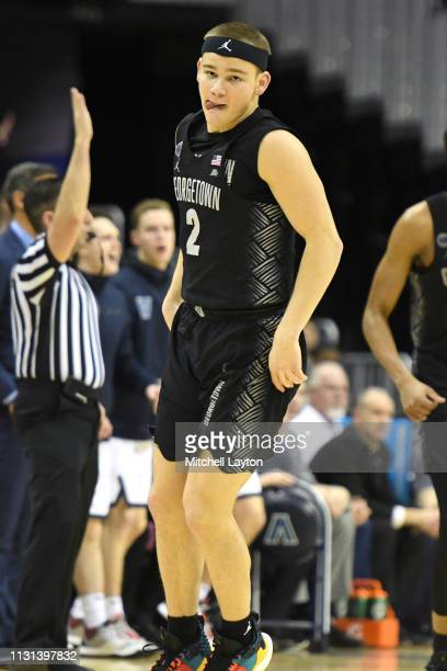 Mac McClung of the Georgetown Hoyas celebrates a shot during a college basketball game against the Villanova Wildcats at the Capital One Arena on...