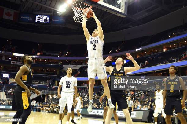 Mac McClung of the Georgetown Hoyas drives to the basket during a college basketball game against the Appalachian State Mountaineers at the Capital...