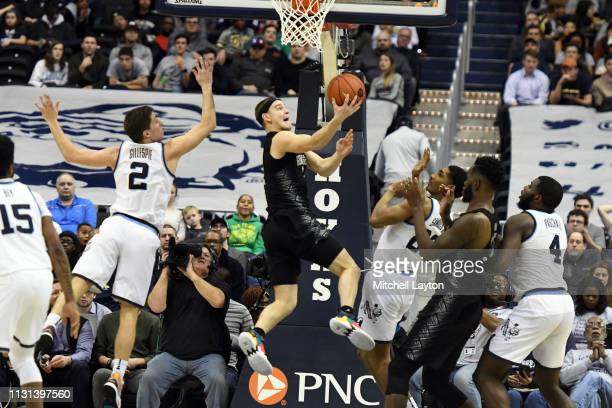 Mac McClung of the Georgetown Hoyas drives to the basket during a college basketball game against the Villanova Wildcats at the Capital One Arena on...