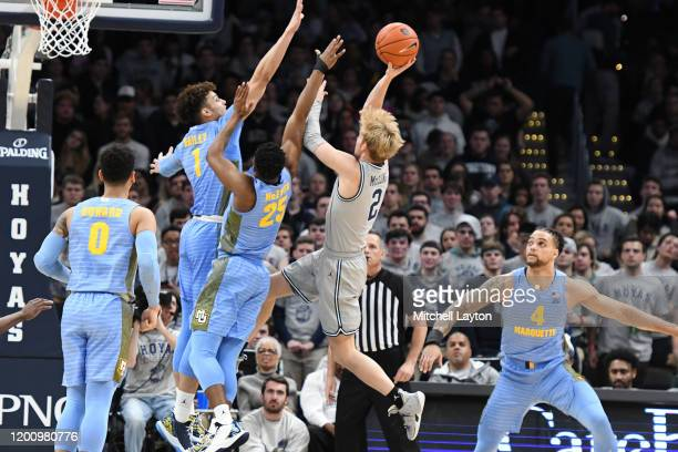Mac McClung of the Georgetown Hoyas drives to the basket during a college basketball game against the Marquette Golden Eagles at the Capital One...