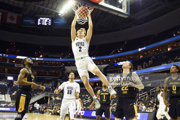 Mac McClung of the Georgetown Hoyas dunks the ball during a college basketball game against the Appalachian State Mountaineers at the Capital One...