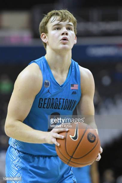 Mac McClung of the Georgetown Hoyas takes a foul shot during a college basketball game against the Southern Methodist Mustangs at the Capital One...