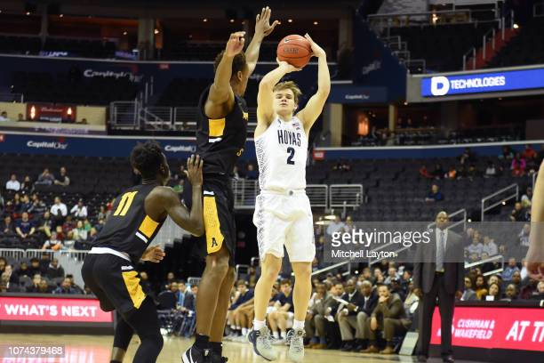 Mac McClung of the Georgetown Hoyas takes a jump shot during a college basketball game against the Appalachian State Mountaineers at the Capital One...